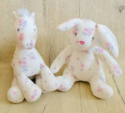 £14.99 • Buy Mothercare White Floral Pretty Pony Bunny Soft Toy Comforters Plush Cuddly Girls