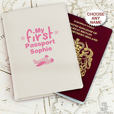 £15.90 • Buy Personalised Baby Girls Passport Holder Cover Kids Children's Child Pink Leather