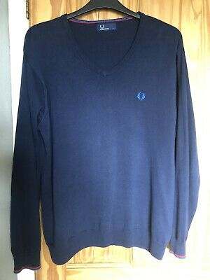 £25 • Buy Fred Perry V Neck Jumper Size Large Navy Blue