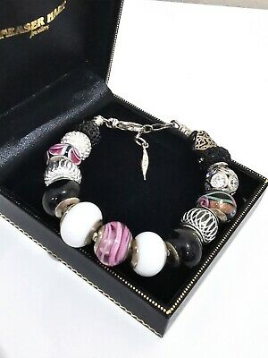 £52.99 • Buy Genuine Amore Baci Sterling Silver 925 Italy Charm Bracelet With Charms Murano