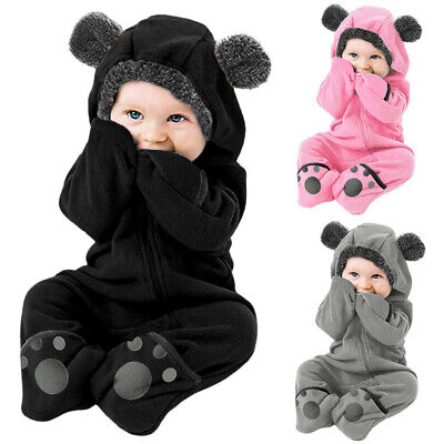 £10.03 • Buy Newborn Baby Boy Girl Kids Hooded Romper Jumpsuit Bodysuit Clothes Outfits