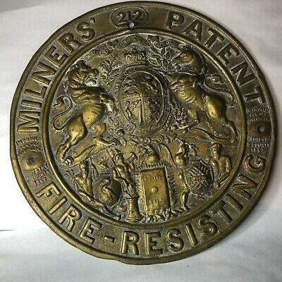 £60 • Buy Antique Victorian Milners Patent Fire Resisting Brass Safe Plate Plaque 21 Cm