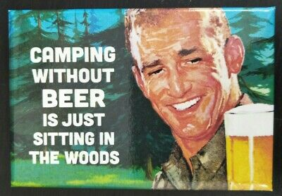 AU9.40 • Buy Camping Without Beer - Funny Fridge Magnet - Retro Humour