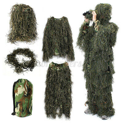 £30.59 • Buy Adult Woodland Military Camo Camouflage Hunting Forest 3D Ghillie Burlap Suit UK