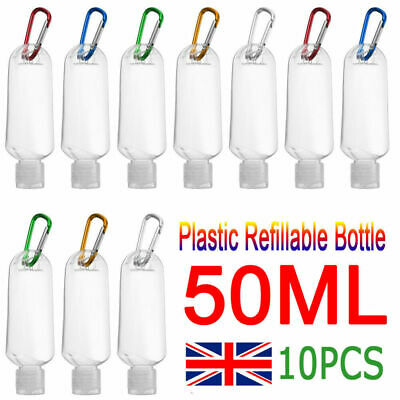 £7.25 • Buy Empty Plastic Bottle With Belt Clip Hook For Hand Gels Lotion Travel 50ml Refill