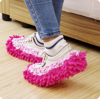 £4.98 • Buy 2-Pair Chenille Micro Fibre Slippers Floor Cleaning Shoe Cover Mop Dust Sweeper