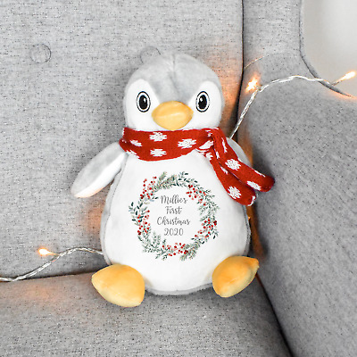 £16.97 • Buy Personalised Baby's 1st Christmas Penguin Teddy Soft Cuddly Toy Kids Xmas Gift