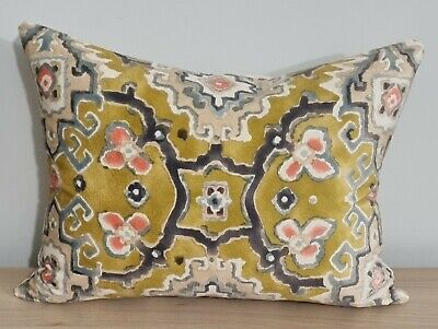 £22 • Buy Linwood Kami Chartreuse & Omega Velvet Cushion Cover 17x13 Inches