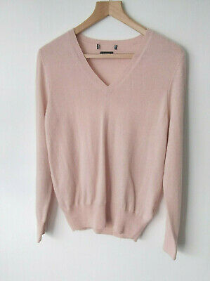 £29.99 • Buy EX M&S Pure Cashmere V Neck Jumper With Ribbed Hem And Cuffs In Blush Pink