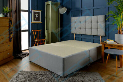 £209.99 • Buy Suede Fabric Divan Bed Frame 4ft 6 Double 5ft King Cube Headboard + Base Only