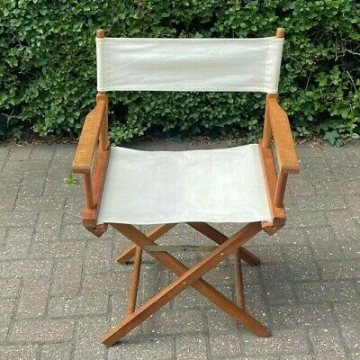 £44.99 • Buy Vintage Wooden White Canvas Garden/camping Folding Directors Chair Pre Owned