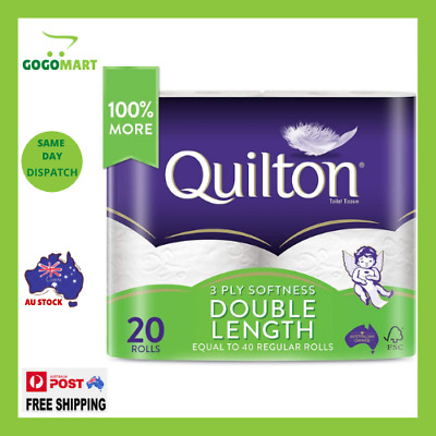 AU24.72 • Buy Toilet Paper 20 Rolls Deluxe Quilton 3 Ply Double Length Large Roll Tissue Bulk