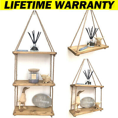 £14.10 • Buy Wooden Floating With String Rope Hanging Distressed Shelves Rustic Display Shelf