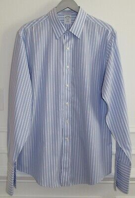 £20.47 • Buy Brooks Brothers Blue & White Stripe Slim Fit Non Iron French Cuff Shirt 16.5 36