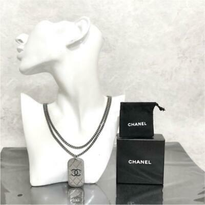 £368.36 • Buy Chanel Necklace Women 09P Coco Mark Quilted Dog Tag Chain W/Box, Storage Bag
