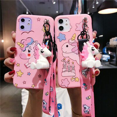 AU5.99 • Buy For Various Phone Cute 3D Cartoon Unicorn Doll Pendant Stand + Strap Case Cover