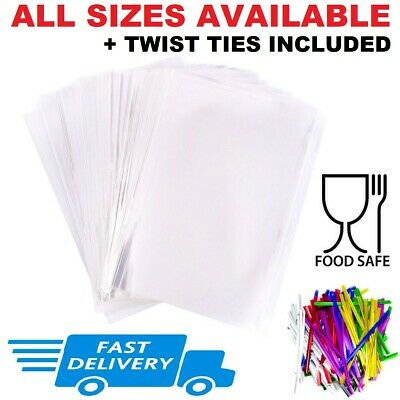 £1.49 • Buy Clear Cellophane Bags For Sweets Cookies Party Gift Food Wrap Small Large + Ties