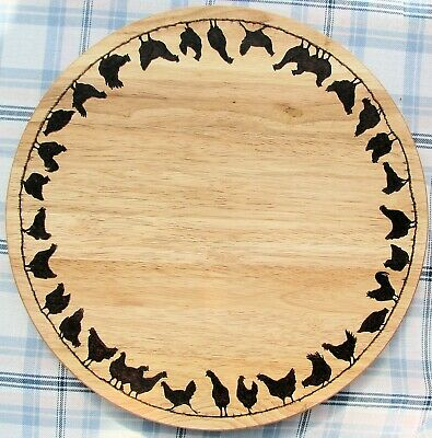 £65 • Buy HENS Chickens Bespoke Wooden Pyrography Lazy Susan Turntable 35cm Diameter