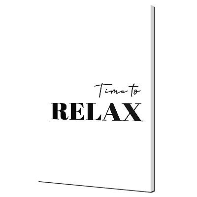 £36.99 • Buy Time To Relax Typography Handrwitten Black White Canvas Print Wall Art Picture