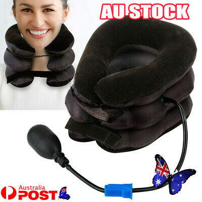 AU13.24 • Buy Air Inflatable Pump Neck Pillow Traction Support Device Pain Relief Collar Brace