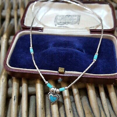 £43.99 • Buy JIM BITSUI Native American Sterling Silver Necklace, Turquoise Inlay, Navajo