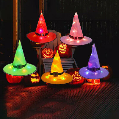 £10.93 • Buy 5PCS Halloween Witch Hats With Lights LED Light Up Outdoor Hanging Decor Caps