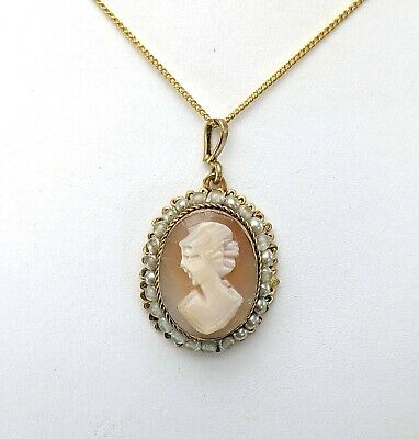 £14.95 • Buy Vintage Carved Shell Cameo Pendant Necklace, Gold Tone Metal