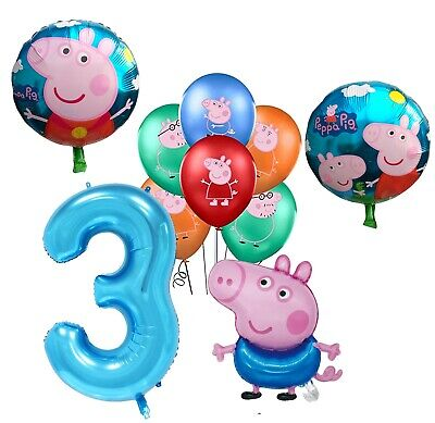 £9.99 • Buy Set Of George Pig Foil Number 3 Balloons Children Birthday Party Latex