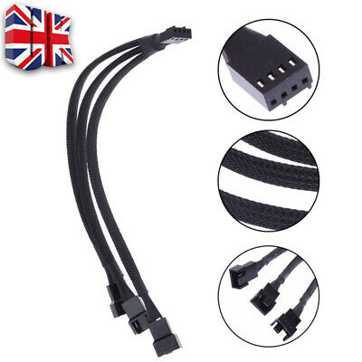 £4.29 • Buy 27cm PWM 4 Pin Y Splitter Computer PC Fan Power Cable Black Sleeved Braided