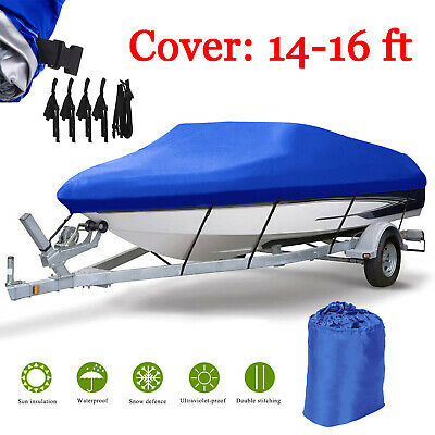 £23.99 • Buy 14-16ft Waterproof Boat Cover Oxford Fabric Speedboat Fish Ski V-Hull Runabouts