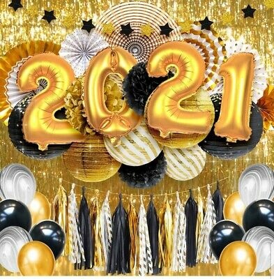 £11.56 • Buy Gold & Black Graduation Balloons Decorations New Year's Eve Party Supplies 2021