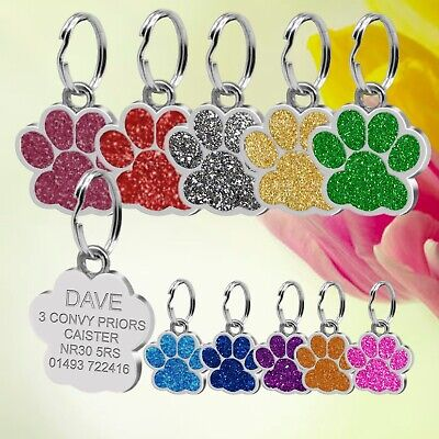£2.99 • Buy  Glitter Dog ID / Cat ID Name Bling Tag Paw Personalised Puppy Pet ID Tags
