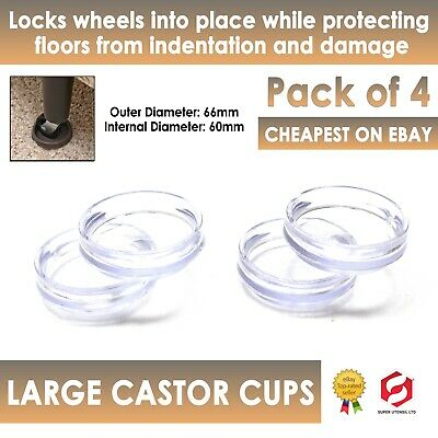 £2.99 • Buy 4 X CLEAR CASTOR CUPS Sofa Chair Furniture Floor Protectors Fittings New
