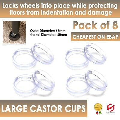 £3.99 • Buy 8x LARGE CLEAR  CASTOR CUPS Carpet/Floor Chair Furniture Protectors Caster