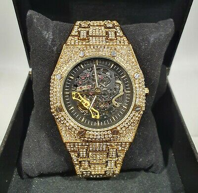 £139.99 • Buy Fully Iced Out Automatic Octagon Skeleton CZ Ice Bling Mechanical Men Watch