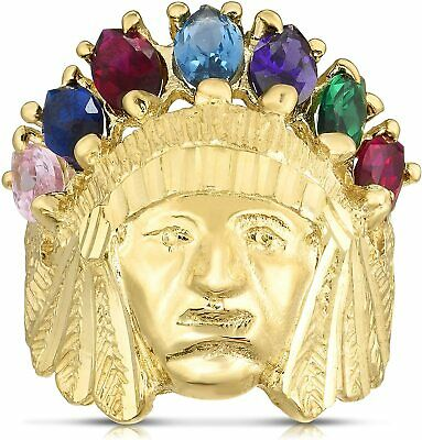 £170.74 • Buy 3D Size 7 Men's Indian Chief Head CZ Ring Real Solid 10K Yellow Gold