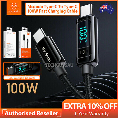 AU12.99 • Buy Mcdodo Type C To Type-C Cable QC4.0 100W PD Charge Cable Fast Charging LED 1.2M