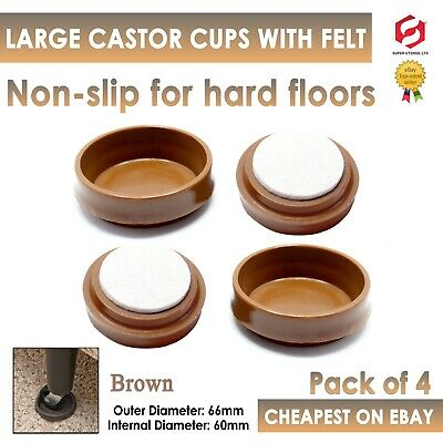 £2.99 • Buy 4 X LARGE BROWN FELT PADDED CASTOR CUPS Floor Chair Furniture Protectors Caster
