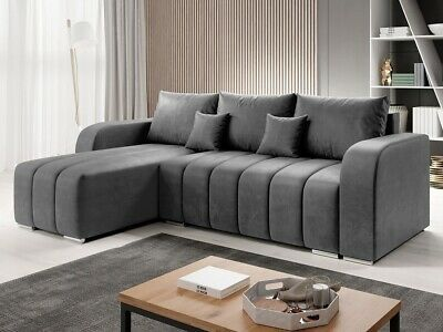 £685 • Buy L-Shaped Corner Sofa Bed With Storage Fabric Bonell Springs New PUFETTO L