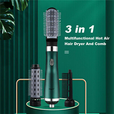 AU26.59 • Buy 3 In1 Rotating Hair Dryer Brush Hot Air Curling Roller Comb Styling Styler Salon