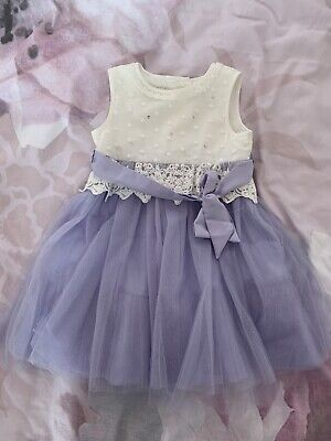 £6.99 • Buy Monsoon Baby Girl Dress 12-18 Months White Purple Tulle Sequin Lace Bow