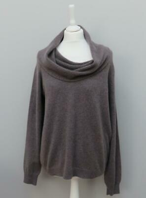£34.99 • Buy M & S Collection 100% Cashmere Espresso Taupe Brown Ribbed Cowl Neck Jumper 18