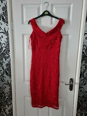 £4.50 • Buy Ladys Quiz Red Sequin Cold Sholder Occasion Dress Size 12