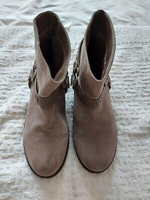 £3.99 • Buy Ladies Light Brown/Grey Cowboy Style Ankle Boots Size Uk 6