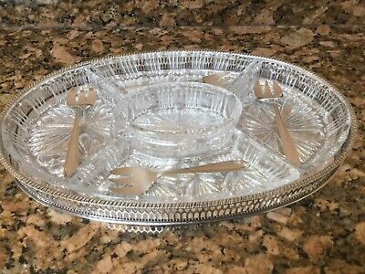 £90 • Buy Vintage Viners Of Sheffield Chase Silver Plate And Cut Glass Hors D'ouvre Tray.