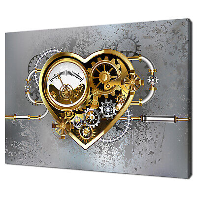£19.99 • Buy Mechanical Steampunk Heart Gold With Manometer Canvas Print Wall Art Picture