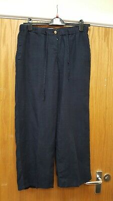 £2.50 • Buy Ladies 100% Linen Trousers In Navy Size S From  THE LINEN PRESS