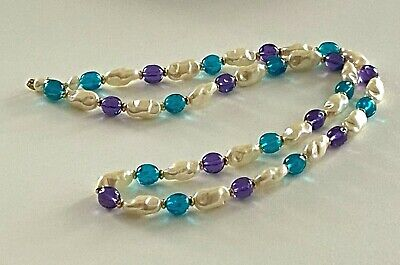£18.88 • Buy Vtg Signed Trifari Necklace Faux Baroque Pearls With Teal & Purple Beads  # 87