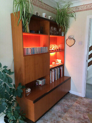 £150 • Buy G Plan Wall Unit With Writing Area And Lighted Display Shelves.