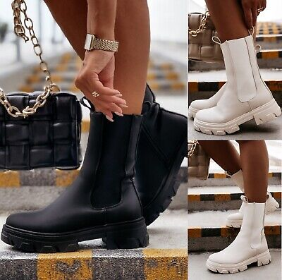 £24.99 • Buy Ladies Womens Flat Retro Chunky Platform Sole Ankle Fashion Chelsea Shoes Boots